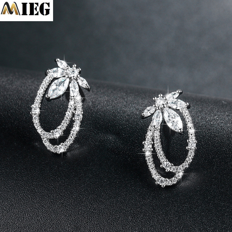 MIEG Fashion Personality S925 Stearling Sliver Jewelry Floral Crystal Cubic Zirconia Studs Earrings For Women