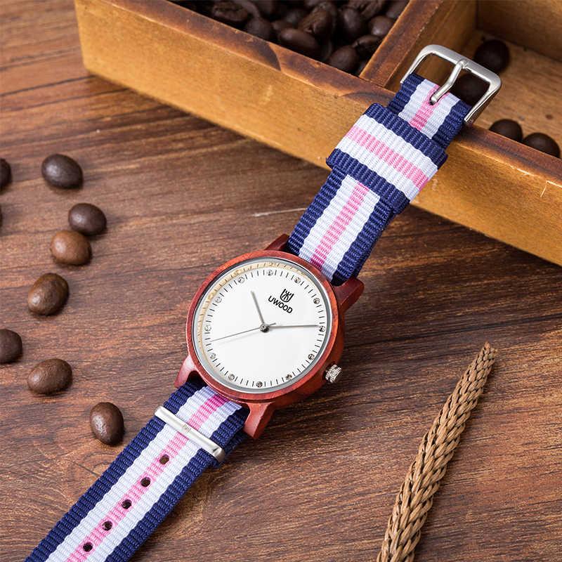 Uwood reloj de cuarzo de madera Natural para mujer reloj de pulsera de correa de nailon para mujer