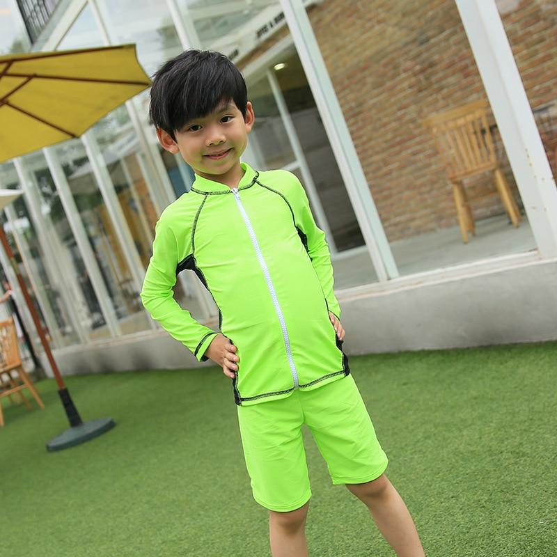 Haiyishan Middle And Large BOY'S KID'S Swimwear Plain Color Split Type Boxer Long Sleeve Sun-resistant Boy Tour Bathing Suit