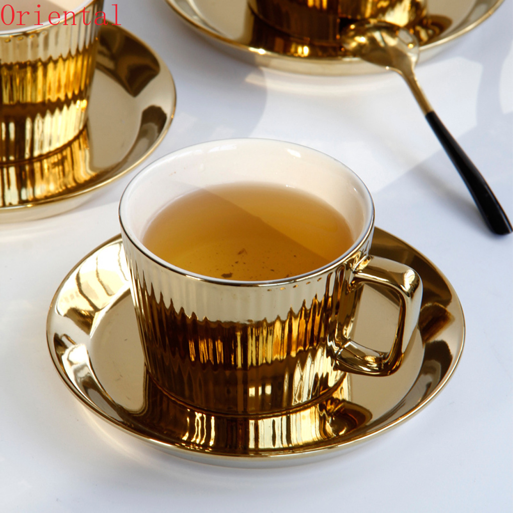 250ml Gold Plated Tea/Coffee Cup & Saucer Set Ceramic Espresso Cup Office -white
