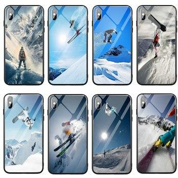 Teléfono Móvil de vidrio templado para iPhone Casos 5 5S SE 2020 6 6S más 7 7Plus X XR XS 11 Pro Max nieve o morir, esquí, Snowboard,