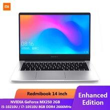 الأصلي شاومي RedmiBook المحمول برو 14.0 بوصة i7 10510U NVIDIA GeForce MX250 8 جيجابايت DDR4 RAM 512 جيجابايت SSD رقيقة جدا دفتر الفضة