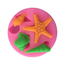 1PC marine theme conch shell starfish DIY chocolate silicone mold fondant clay kitchen tools baking handmade soap A120