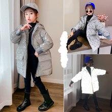 Crianças jaquetas de inverno para meninas moda material reflexivo outerwear casaco quente adolescente impressão crianças com capuz roupas 4 6 8 10 12yrs