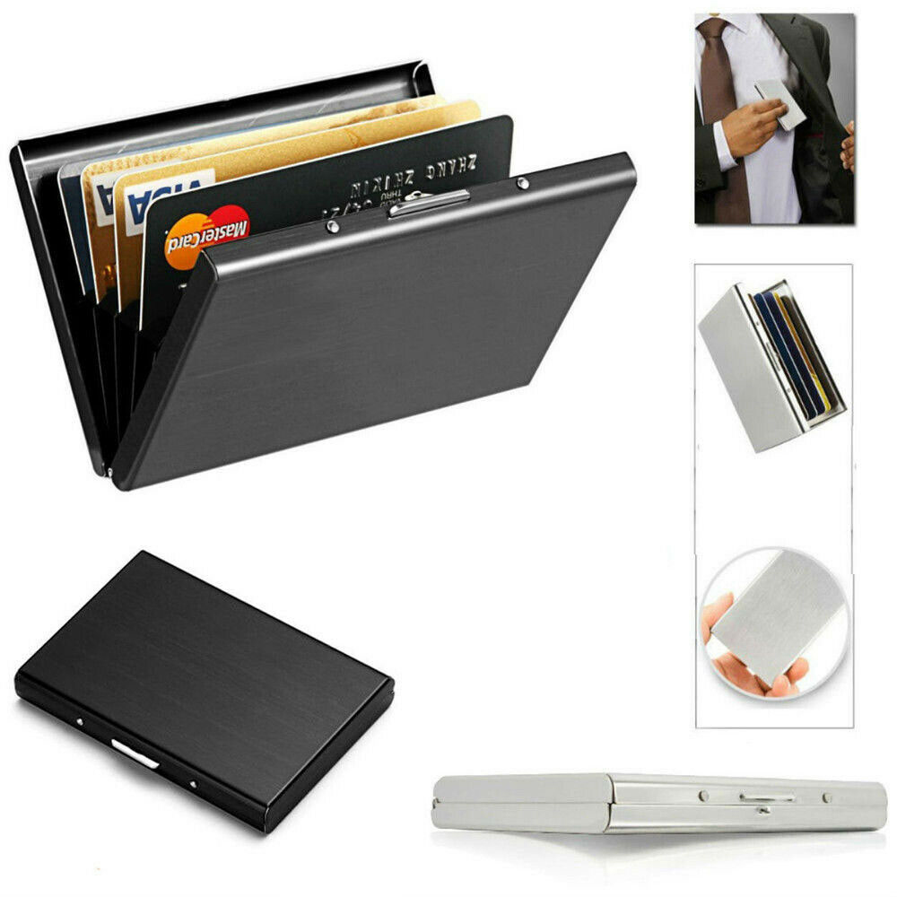 New 1 PC Stainless Steel Credit Card Holder Slim Blocking Wallet Case Business Card Protection Holder Case