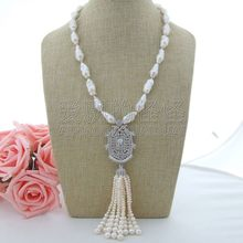 "N101007 21"" White Keshi Pearl Necklace CZ Pendant(China)"