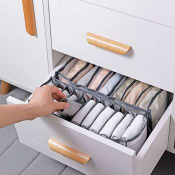 Dormitory closet organizer for socks home separated underwear storage box 7 grids bra organizer foldable drawer organizer