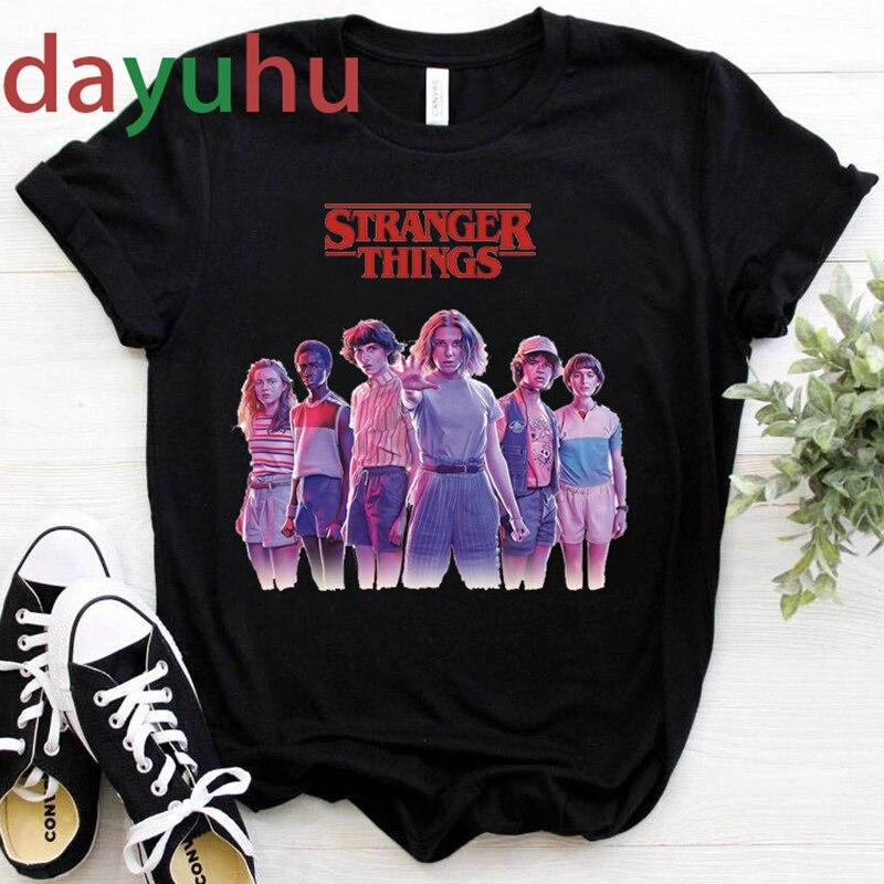 stranger things Season 3 T Shirt Women Harajuku New Tshirt Funny 90s Female Graphic T-shirt Ullzang Upside Down Top Tees Cartoon 1