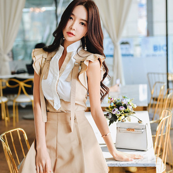 Dabuwawa Elegant Workwear Flounce Shoulder Stand Ruffle Patchwork Blouse Women Casual Sleeveless Shirt Top Female DT1BST009 tie neck flounce blouse