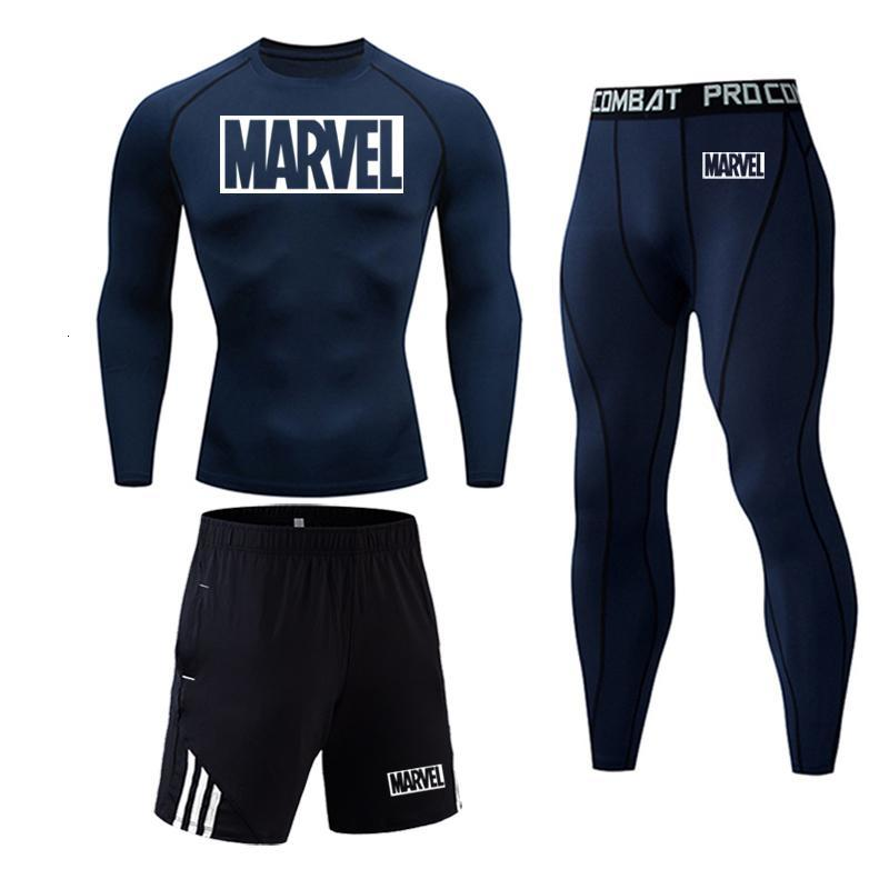 Men's Sportswear Set Marvel For Men Male Thermo Clothes Compression Set Tights Winter Long Leggings Rashgard Suit Quick Dry