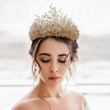 Moda grânulos de ouro acessórios para o cabelo do casamento coroas artesanais tiara para a noiva