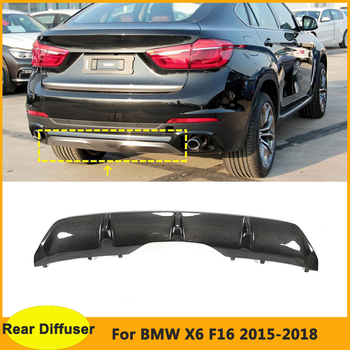 Carbon Fiber Rear Diffuser For BMW X6 F16 Standard 2015 2016 2017 2018 Back Bumper Lip Muduard F16 Body Kits image