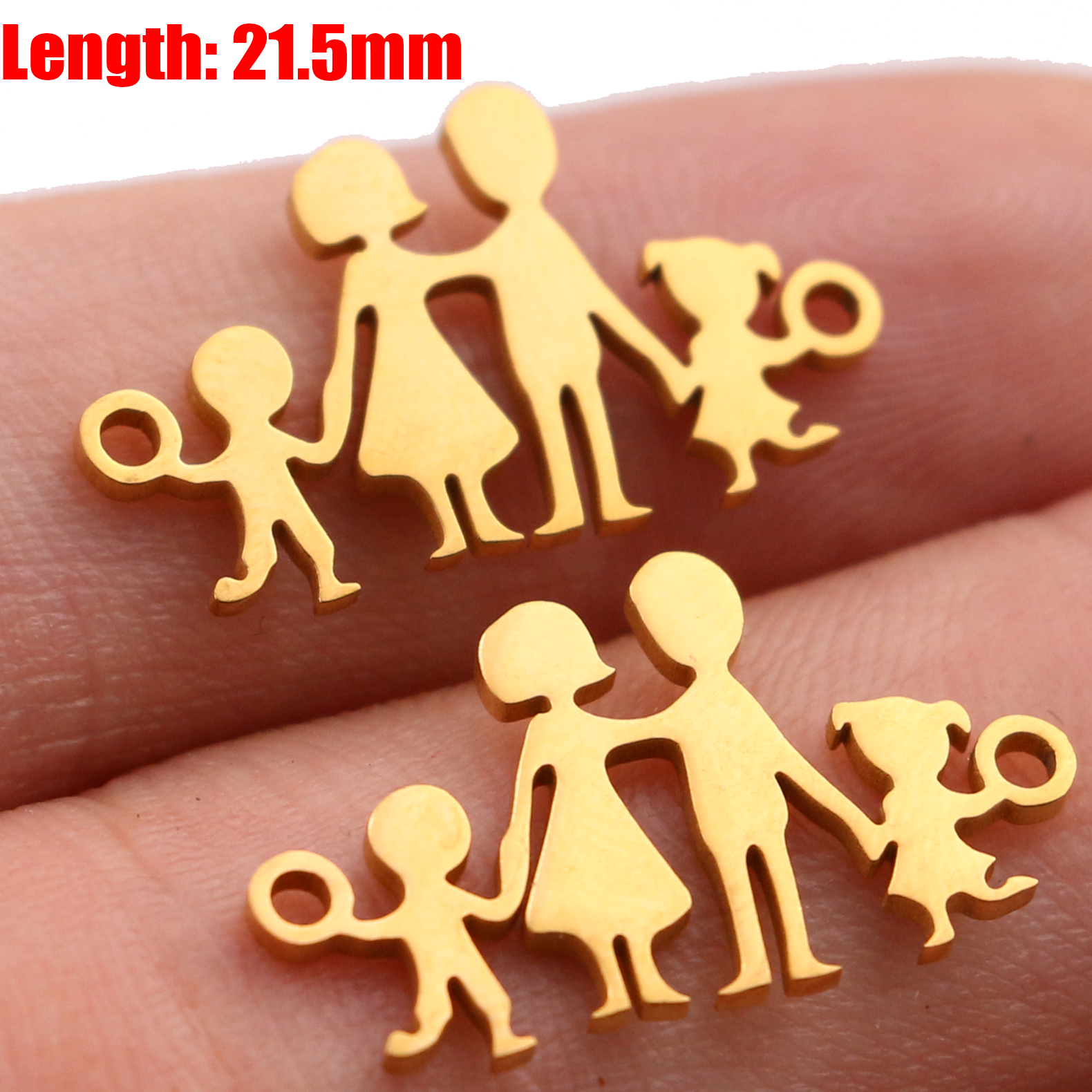 5pcs Family Chain Stainless Steel Pendant Necklace Parents and Children Necklaces Gold/steel Jewelry Gift for Mom Dad New Twice - Цвет: Gold 37