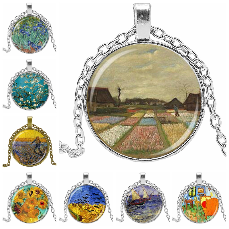 2019 Hot Oil Painting Pattern Classic Fashion Necklace Sunflower Glass Cabochon Art Decoration