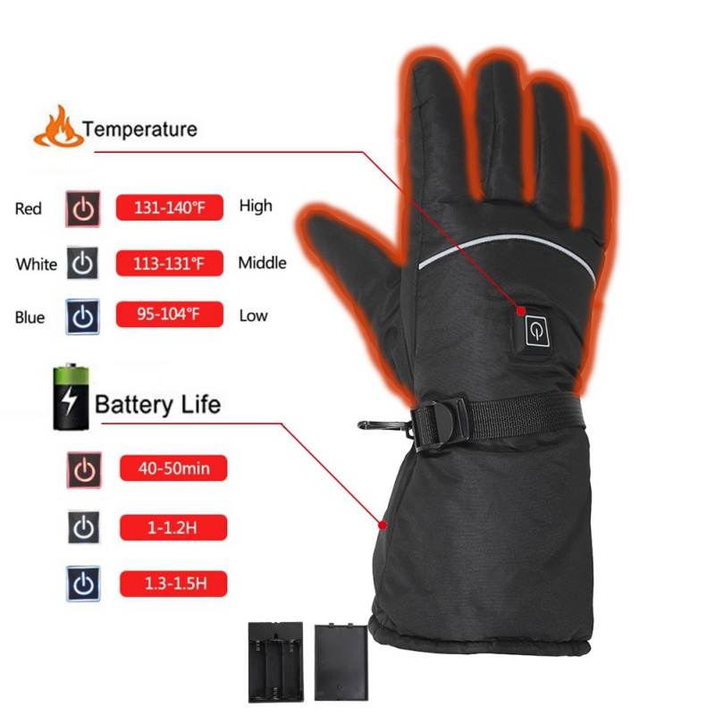 Inverno quente Luvas Aquecidas Bateria Alimentada Luvas
