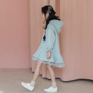 Image 4 - Детское платье с длинными рукавами для девочек весенне осенние толстовки с капюшоном, платья свитеры хлопковая однотонная свободная одежда для подростков 10 12 лет, Новинка