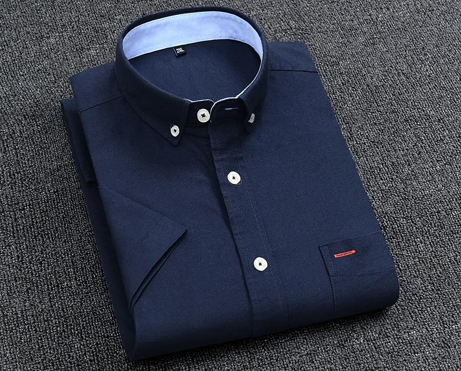 H8741e1cf8a6040a8ba69e7b1048c9887Z Men's Summer Pure Cotton Oxford Shirts Casual Slim Fit Design Short Sleeve Fashion Male Blouse Shirt