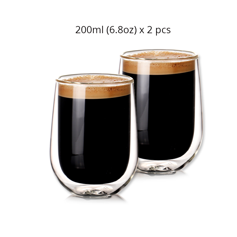 Set of 2pcs 6.8oz Double Wall Insulated Heat Resistant Coffee Cups  for Tea Espresso Latte Mug  Beverages 200ml