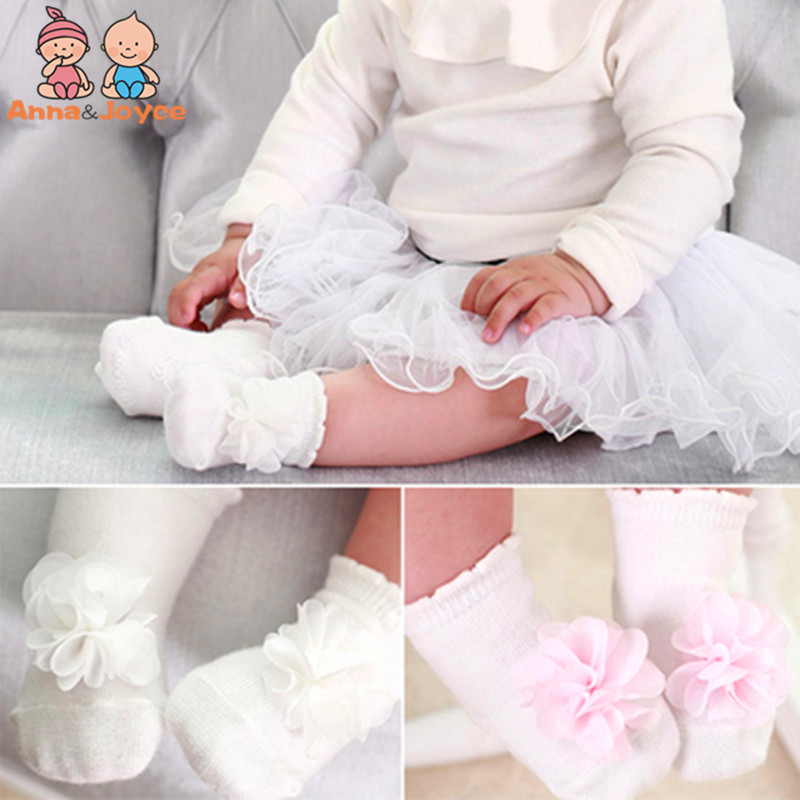 2Pair/lot New Hot Pink And White 100% Cotton Three-dimensional Flower Socks For 0-4 Years Children