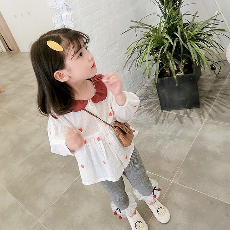 Girl'S Shirt Strawberry Cute GIRL'S Shirt Tops 19 Autumn Clothing New Style Childrenswear 2-7-Year-Old