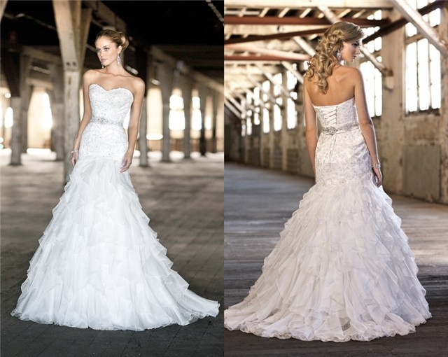 Frete Grtis Ec-49 Elegante Contas Bordado Querida Sereia Organza Branca/marfim Vestidos De Casamento Nupcial Vestido Personaliza