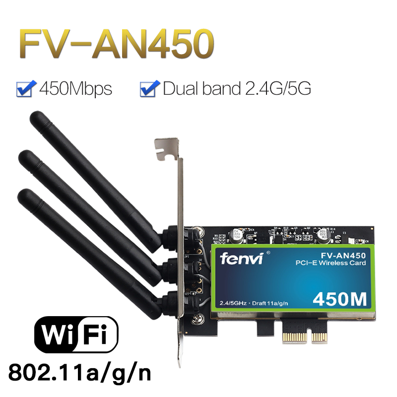 Desktop PCI Wifi Adapter 450Mbps Dual Band Wireless Network Card 802.11a/g/n With Chips With 2.4/5GHz For PC Computer