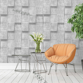 High quality modern minimalist checkered thick velvet skin non-woven wallpaper 3D geometric TV background wall Nordic plaid wall