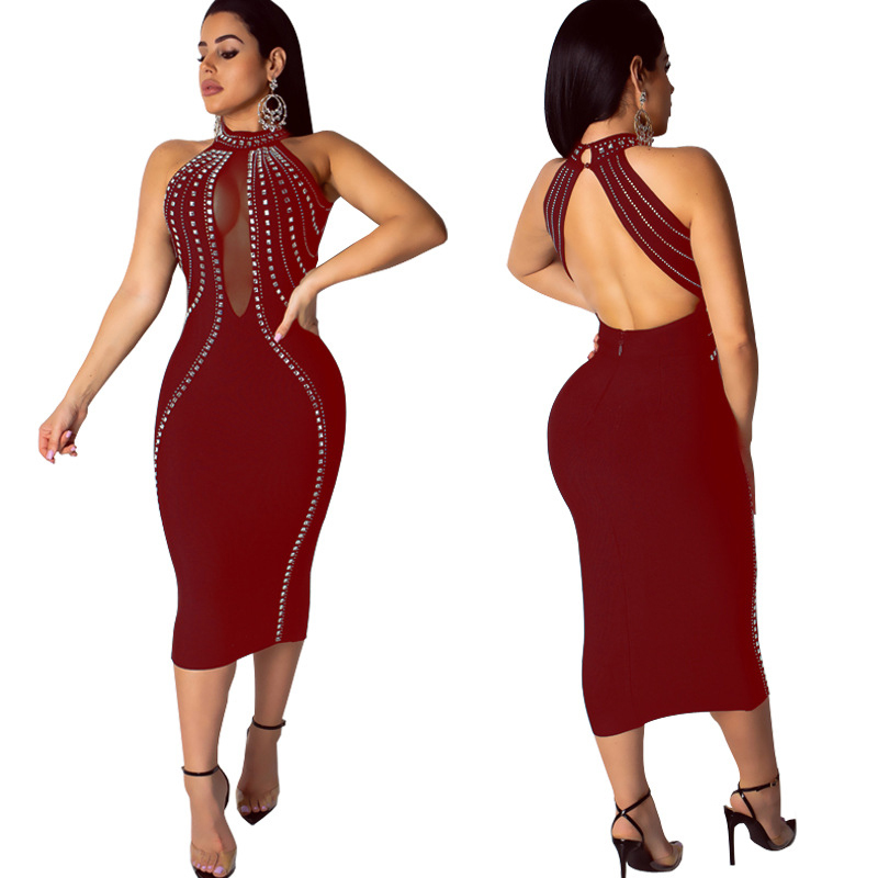 Sexy Shining Diamond Sheer Mesh Night Party Bodycon Dress Women Elegant Backless Bandage Clubwear Dresses Casual Outfit Vestidos in Dresses from Women 39 s Clothing