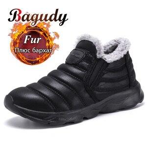 Image 1 - Bottines de neige imperméables unisexes pour hommes, chaussures chaudes en peluche, de qualité, à la mode, hiver espadrilles décontractées