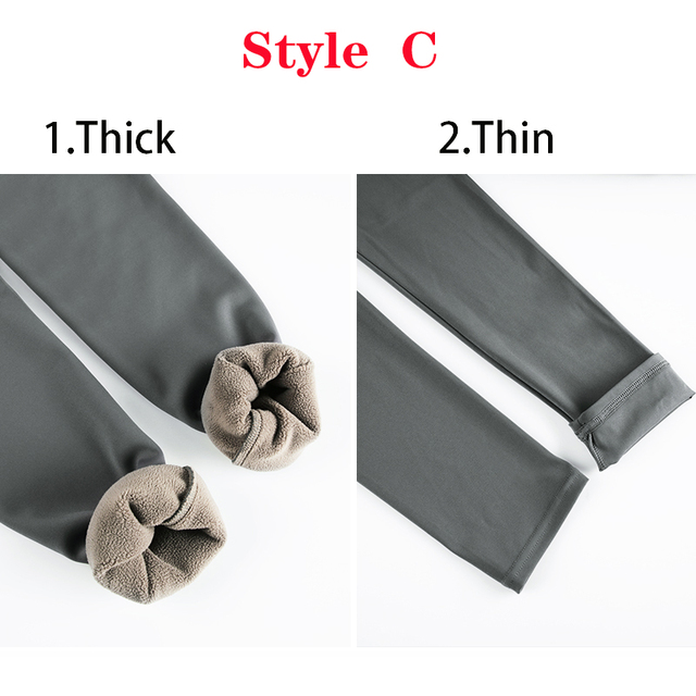 CHRLEISURE Warm Plus Size Winter High Waist Plush Leggings For Women Girls Push Up Warm Thin/Thick Skinny Leggings 3 Styles