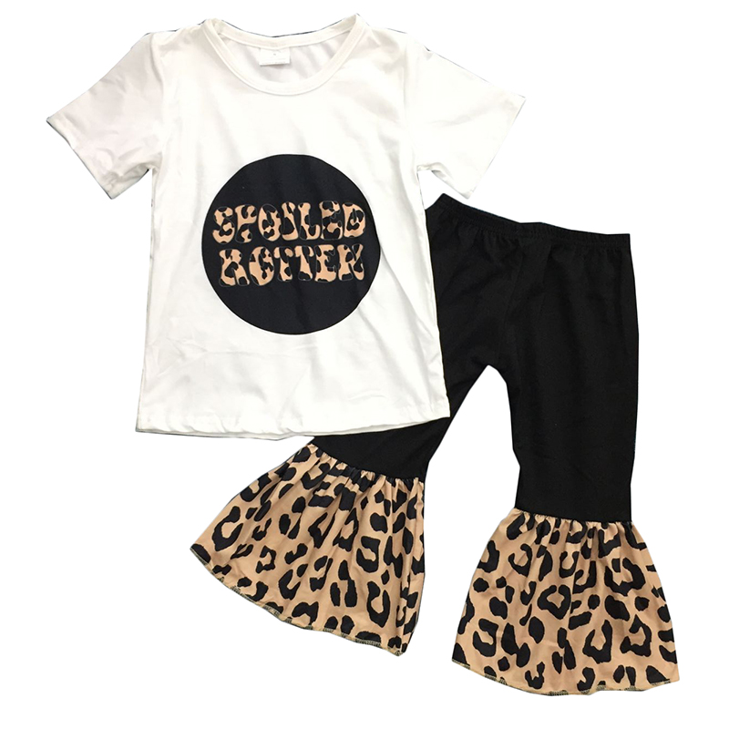 Best Sale Cute Girl Clothes Children Spoiled Rotten Top Leopard Bell Pants Outfit For Girls image