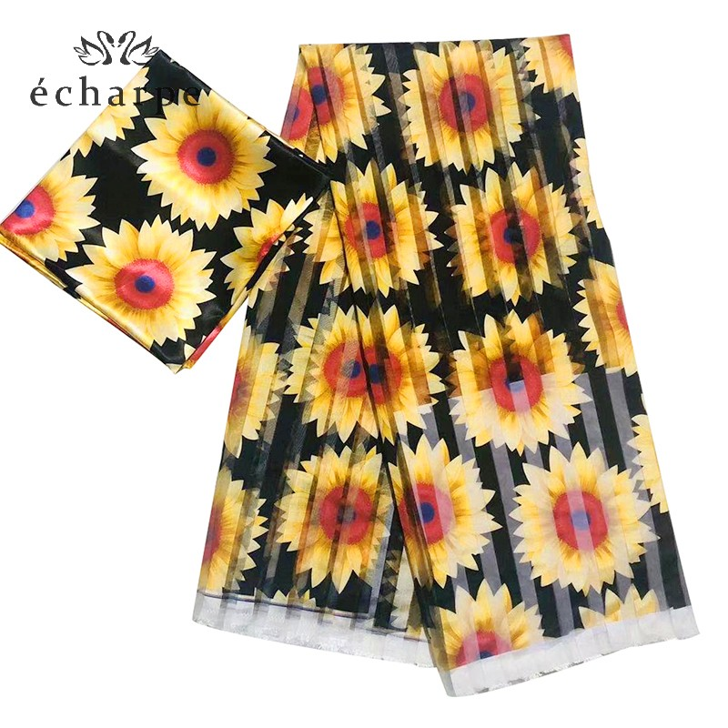 African Women Scarfs Organza Lace Set Fabric For Women Floral Design Organza Material