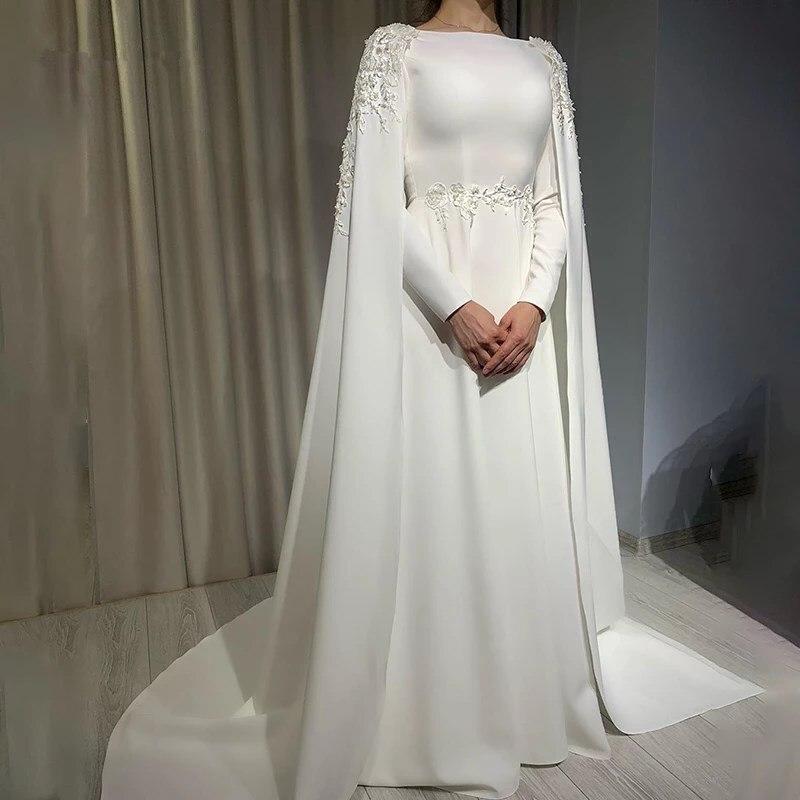 Arabisch EINE Linie Muslimischen Hochzeit Kleid Mit Cape Langen Ärmeln High Neck Braut Kleid Spitze Appliques Sweep Zug Vestido De novia