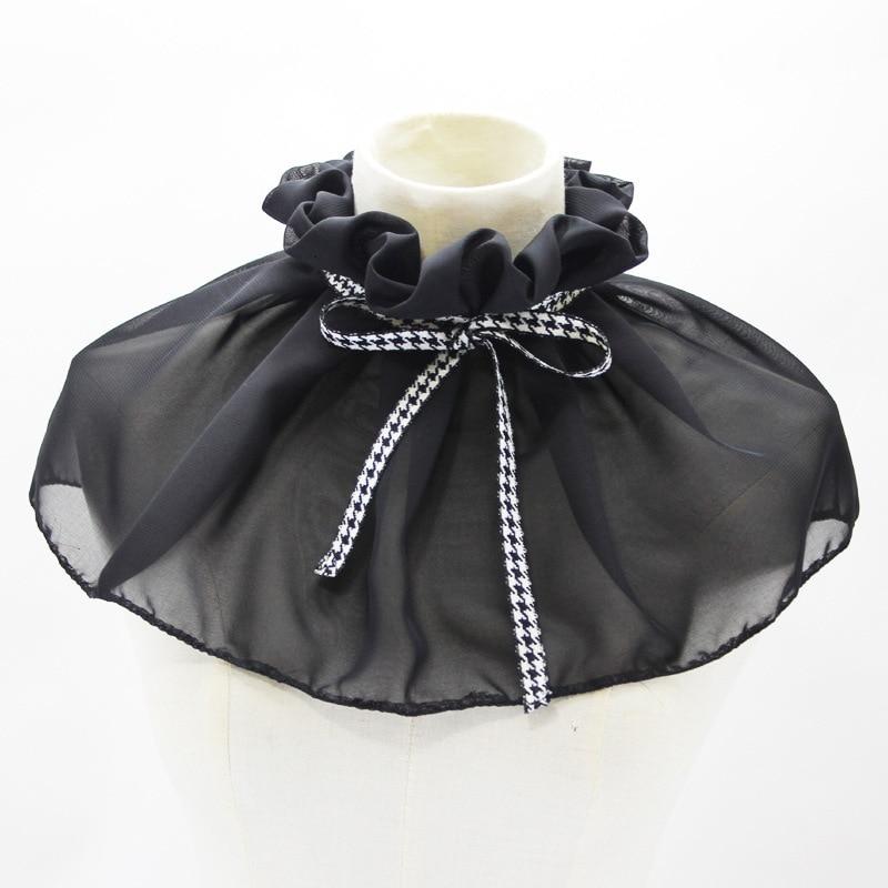 Shawl Dickie Chiffon Decoration Plover Grid Bow Fold Doll Lead Detachable Fake Collar New Free Shipping Shirt Women