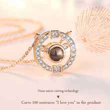 WEARLIKES silver pendant necklace for women S925 Sterling Silver Necklace pendant Zircon 100 languages projection I love you equte elegant s925 sterling silver white zircon pendant women s necklace white silver