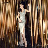 Sexy Deep V Neck Sequins Dresses Women High Split Long Formal Gowns Hollow Sleeveless Sexy Robe Femme Ladies Club Party Vestidos