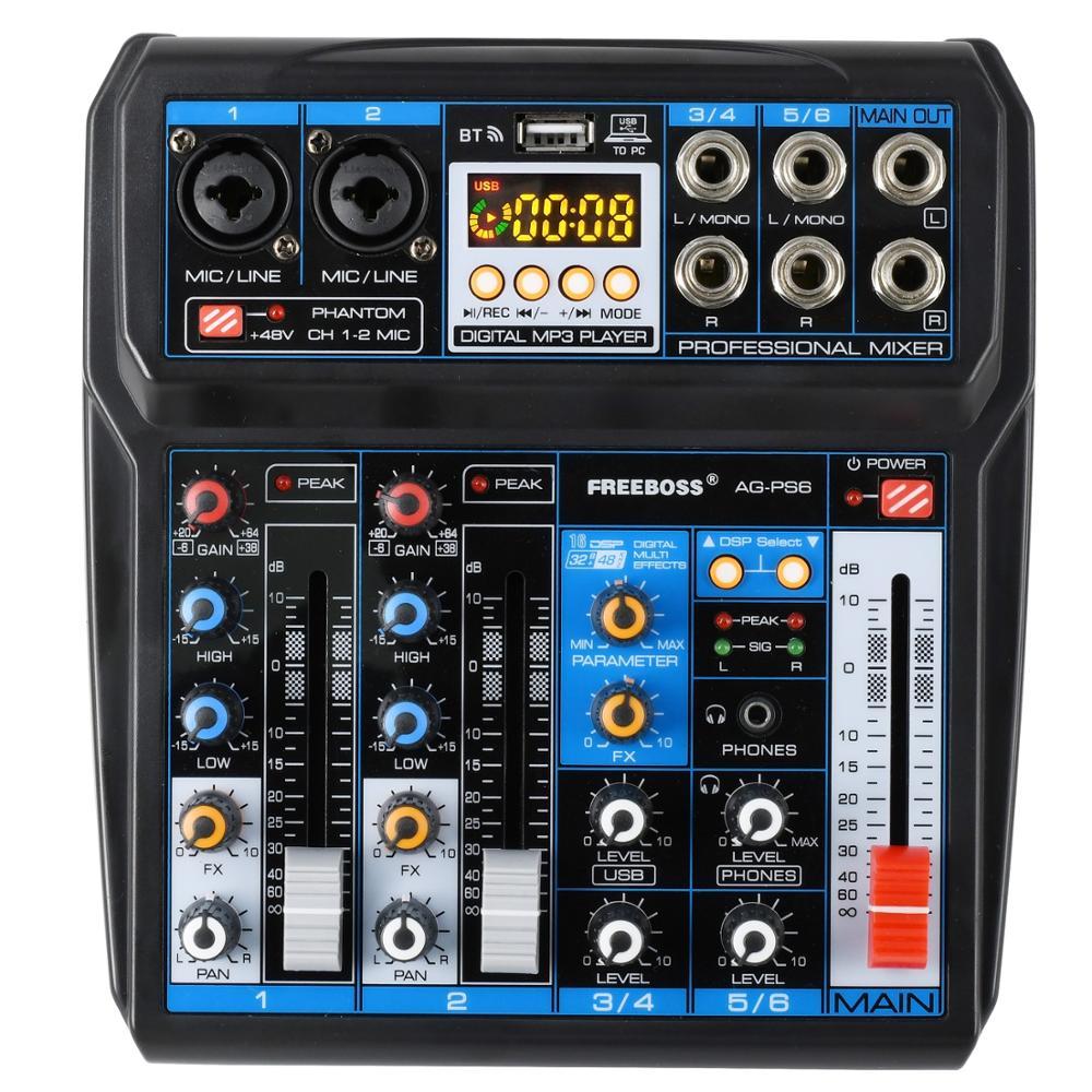 Fonte de Alimentação Freeboss Interface Usb 6 Canal 2 Mono Estéreo 16 Efeitos Digitais Misturador Áudio Ag-ps6 dc 5 v