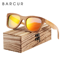 BARCUR Bamboo Sunglasses Men Retro Vintage Wood Sun Glasses Women Polarized Mirror Coating Lenses Eyewear