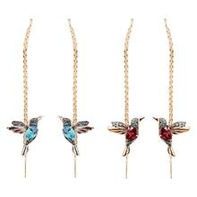 Drop-Earrings Tassel Crystal Hummingbird Girls Long Wholesale Women Gifts Fashion