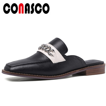 CONASCO Summer New Concise Casual Women Genuine Leather Sandals Mule Slippers Pumps Metal Chain Square Toe Low Heels Shoes Woman