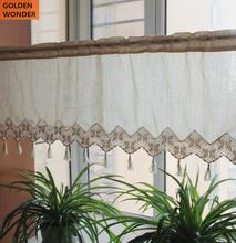 American Rural Simple Cotton Handmade Crochet Half Curtain Coffee