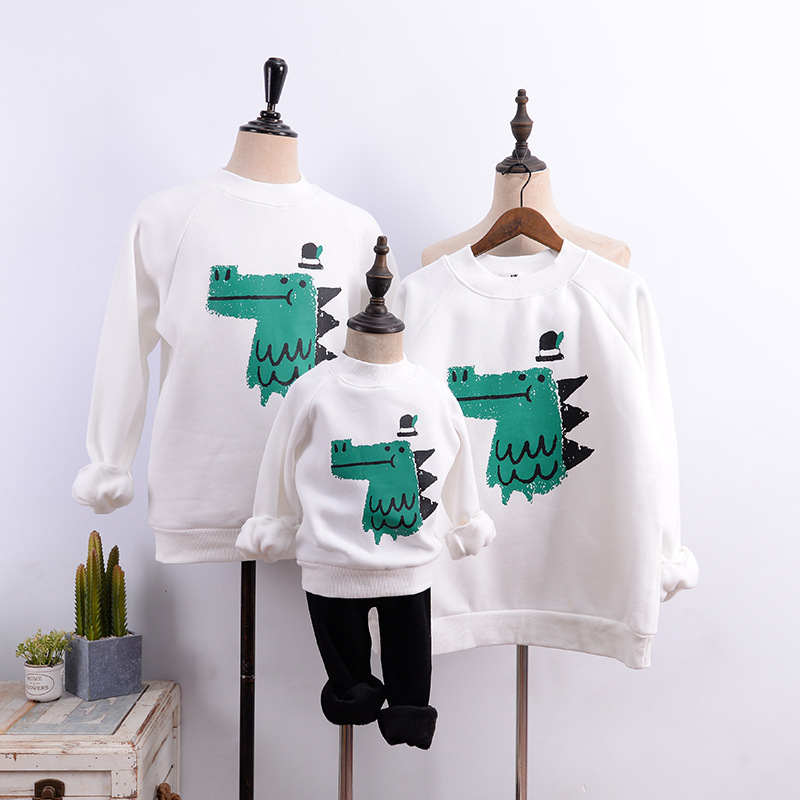 2020 Boys Dinosaur Sweatshirts Family Matching Sweaters Shirts Daddy And Son Hoodies Mommy And Me Clothes Mother Kids Clothing