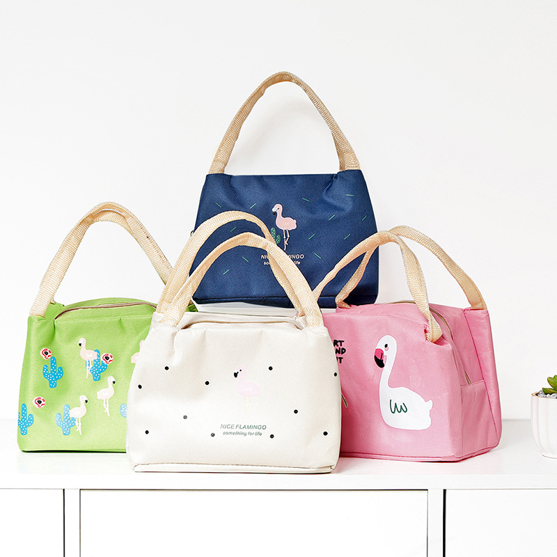 Zipper New Style Cotton Linen Fashion Flamingo Ice Pack Insulated Bag Waterproof Hand Classic Element Bento Box Bag Wholesale
