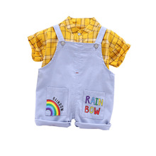 New Summer Baby Boys Clothes Suit Children Girls Cotton Plaid Shirt Overalls 2Pcs/sets Toddler Fashion Clothing Kids Tracksuits 2017 new girls sets baby two pieces sets children cotton and linen set kids plaid blouses overalls toddler jeans pants 2 7y