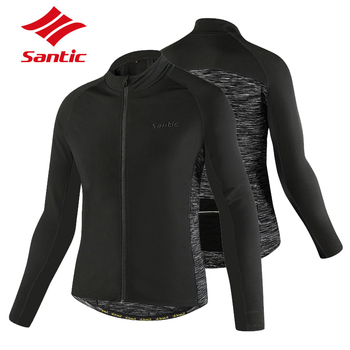 Santic Winter Cycling Jacket Men Long Sleeve Warm Up Thermal Fleece Sports Wear Cycling Clothing Bicycle Bike Wind Jackets