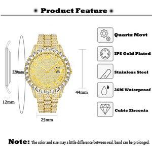 Image 3 - Missfox relógio masculino 2020 mais vendido marca de luxo ouro masculino moda relógios masculino grande pulseira de diamante relógio de luxo masculino caixa de presente