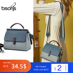 BISONJS en cuir véritable sacs à main de luxe femmes sacs concepteur grande capacité femme sac de messager Patchwork sac à bandoulière B1811