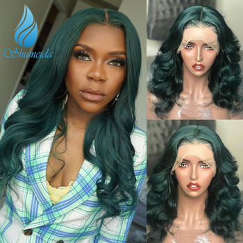 Green Color Lace Front Wigs With Baby Hair Loose Deep Wave Brazilian Remy Human Hair Wigs Pre Plucked Hairline 13*6 Frontal Wig 1