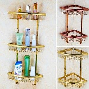 Vidric настенная Золотая/хромированная/Розовая Золотая полка для ванной, душевая полка для ванной, угловая полка для ванной, держатель для мыл...