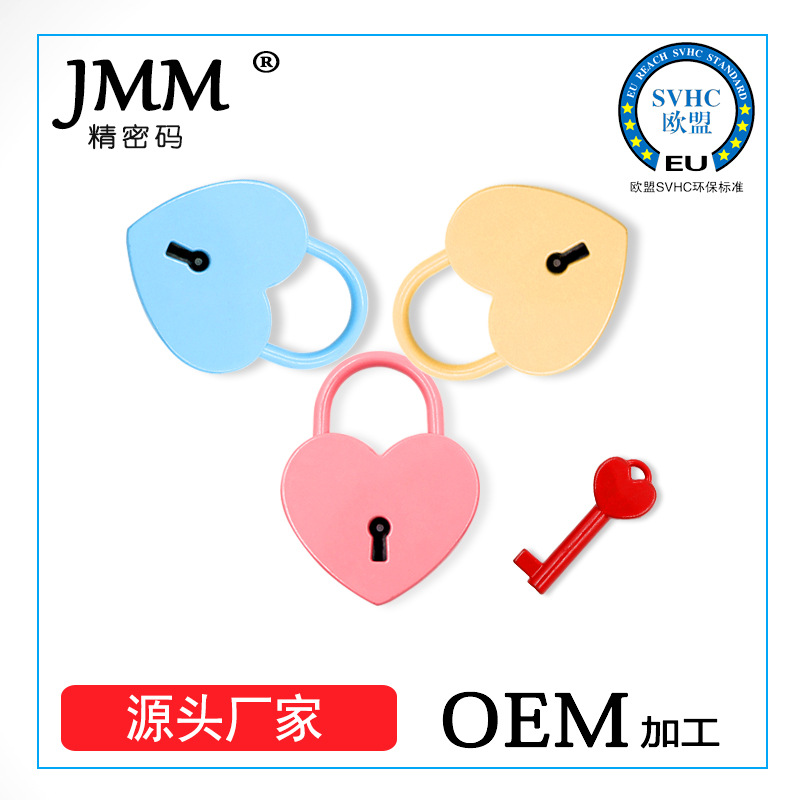 Metal Heart Shape Color Key Padlock Gym Tool Luggage Lock Luggage Stationery Gift Heart Lock New Products